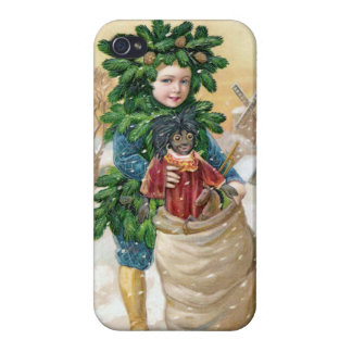 Clapsaddle: Fir Boy with Doll iPhone 4/4S Cases