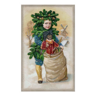Clapsaddle Fir Boy with Doll Poster