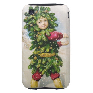 Clapsaddle Fir Boy with Snowball iPhone 3 Tough Covers
