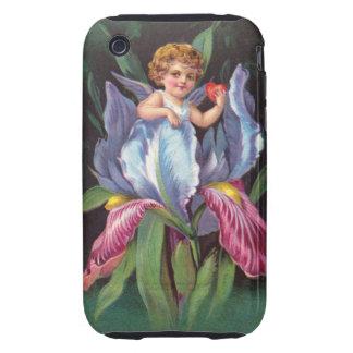 Clapsaddle: Flower Cherub Iris Tough iPhone 3 Case