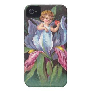 Clapsaddle: Flower Cherub Iris iPhone 4 Case-Mate Cases