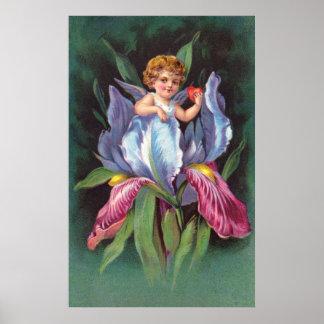 Clapsaddle: Flower Cherub Iris Print