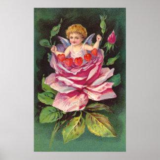 Clapsaddle: Flower Cherub Rose Poster