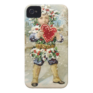 Clapsaddle: Holly Boy with Heart Case-Mate iPhone 4 Cases