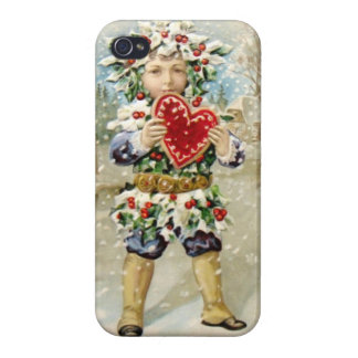 Clapsaddle Holly Boy with Heart iPhone 4 Cases