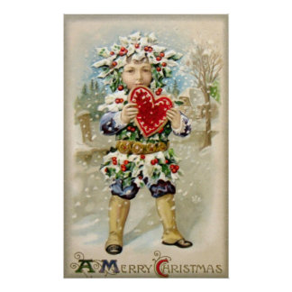 Clapsaddle Holly Boy with Heart Print