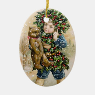 Clapsaddle: Holly Boy with Teddy Ceramic Oval Decoration