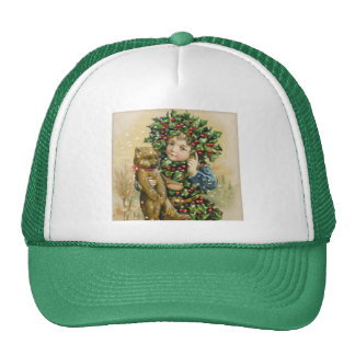 Clapsaddle: Holly Boy with Teddy Mesh Hats