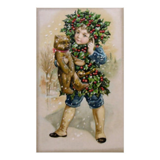 Clapsaddle Holly Boy with Teddy Posters