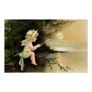 Clapsaddle Little Cherub with Fishing Rod Print