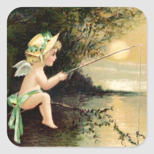 Clapsaddle: Little Cherub with Fishing Rod Sticker