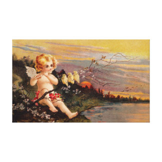 Clapsaddle: Little Cherub with Flute and Birds Canvas Print