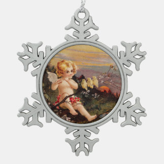 Clapsaddle: Little Cherub with Flute and Birds Pewter Snowflake Decoration