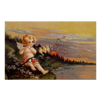Clapsaddle: Little Cherub with Flute and Birds Poster