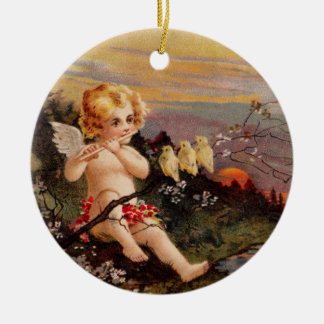 Clapsaddle: Little Cherub with Flute and Birds Round Ceramic Decoration