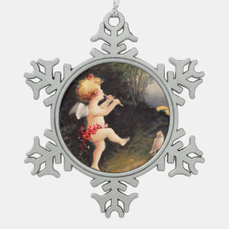 Clapsaddle: Little Cherub with Flute Snowflake Pewter Christmas Ornament