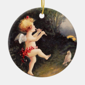 Clapsaddle: Little Cherub with Flute Round Ceramic Decoration