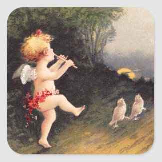 Clapsaddle: Little Cherub with Flute Square Sticker