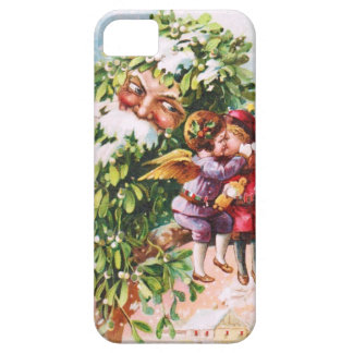 Clapsaddle: Mistletoe Father with Angels iPhone 5 Cases