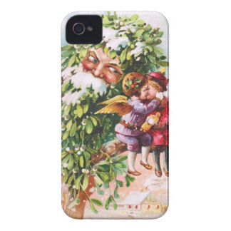 Clapsaddle: Mistletoe Father with Angels Case-Mate iPhone 4 Case