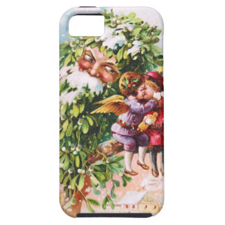 Clapsaddle: Mistletoe Father with Angels iPhone 5 Cover