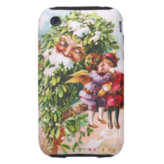 Clapsaddle: Mistletoe Father with Angels Tough iPhone 3 Case