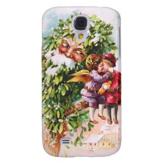 Clapsaddle: Mistletoe Father with Angels Galaxy S4 Case