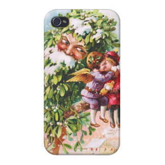 Clapsaddle: Mistletoe Father with Angels iPhone 4/4S Cover