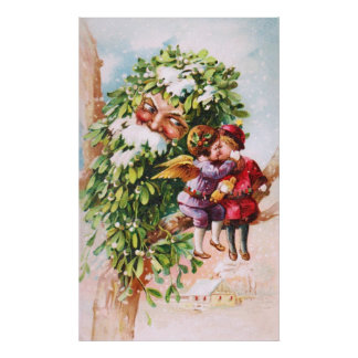 Clapsaddle Mistletoe Father with Angels Posters