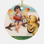 Clapsaddle: Music Making Easter Fairy Double-Sided Ceramic Round Christmas Ornament