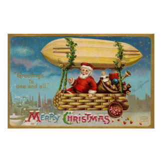 Clapsaddle: Santa Claus in Zeppelin Poster