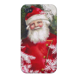 Clapsaddle Santa Claus with Fir Twigs iPhone 4/4S Cover
