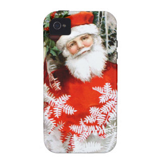 Clapsaddle: Santa Claus with Holly Vibe iPhone 4 Cases
