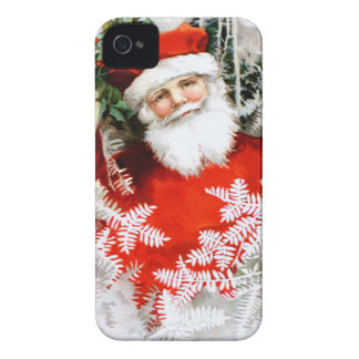 Clapsaddle: Santa Claus with Holly iPhone 4 Case-Mate Cases