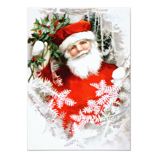 Clapsaddle: Santa Claus with Holly 4.5x6.25 Paper Invitation Card