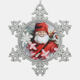 Clapsaddle: Santa Claus with Toys and Fir Twigs Pewter Snowflake Decoration