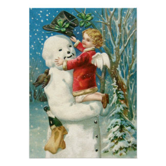 Clapsaddle Snowman with Angel Girl Posters