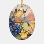 Clapsaddle: Swinging Biddy Double-Sided Oval Ceramic Christmas Ornament