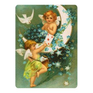 Clapsaddle: Two Cherubs on a Sickle Moon 17 Cm X 22 Cm Invitation Card