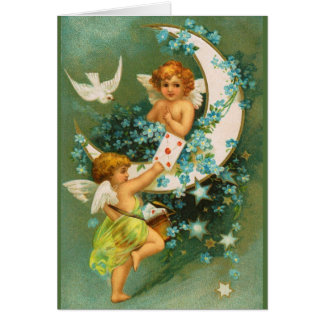 Clapsaddle: Two Cherubs on a Sickle Moon Greeting Card