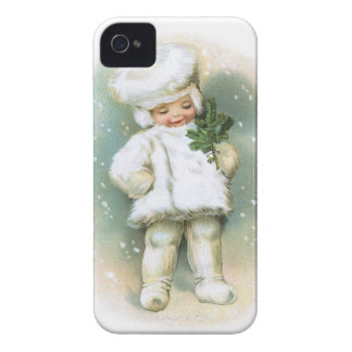 Clapsaddle: Winter Boy with Fir Twig iPhone 4 Case-Mate Cases