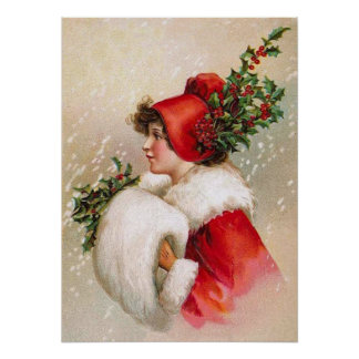 Clapsaddle: Winter Girl with Holly Hat Poster