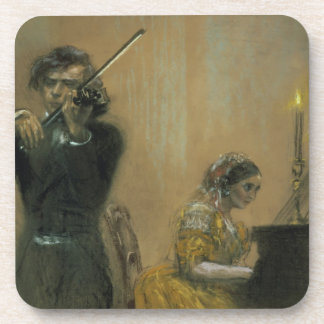 Clara Schumann 1819-96 and a Violinist 1854 pa Beverage Coasters