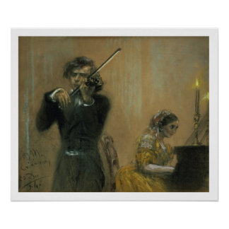 Clara Schumann (1819-96) and a Violinist, 1854 (pa Poster