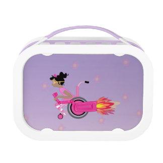 ClaraBelle Blue Rocketchair Lunchbox -Floral Bkgrd