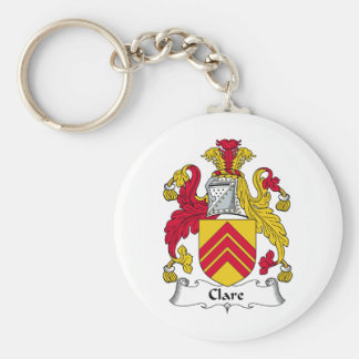 Clare Family Crest Basic Round Button Key Ring