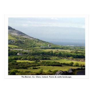 Clare, Ireland, farmhouses & fields in Kilfenora Post Cards