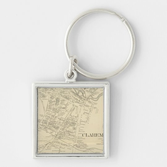 Claremont PO Silver-Colored Square Key Ring