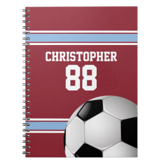 Claret and Blue Stripes Jersey Soccer Ball Notebook