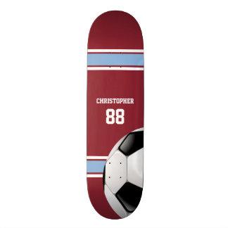 Claret and Blue Stripes Jersey Soccer Ball Skate Deck